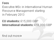 Cranfield Masters in International Human Resource Management - fees